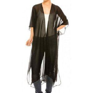 NEW Sheer Black Maxi Kimono Cover Up One Size